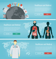 medical banners set healthcare and medical vector image vector image