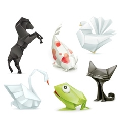 Origami animals icons vector
