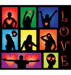 people silhouettes with hearts vector image vector image