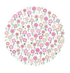 Pink floral circle vector