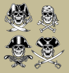 Pirate skulls vector