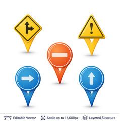 road sign pins set vector image