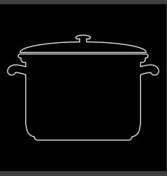 Saucepan white color path icon vector