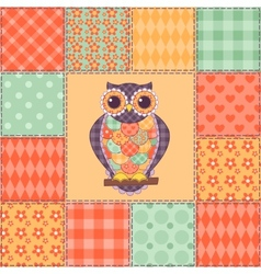 Seamless patchwork owl pattern 4 vector