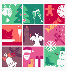 the symbols of new year and christmas vector image
