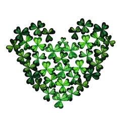 Watercolor green clover heart by the st patricks vector