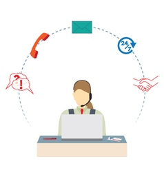 Woman working in a call center support service vector