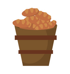 Wooden bucket bread religion symbol vector