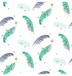 Blue and green palm leaves white seamless vector
