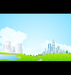 Green Landscape with Power Plant vector image