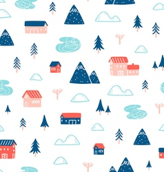 Winter town landscape pattern vector