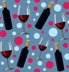 seamless pattern with a bottle of wine and glass vector image