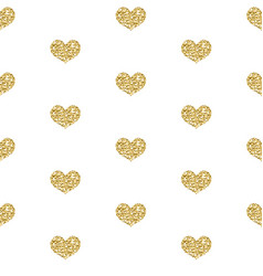 Gold glitter heart seamless pattern isolated on vector