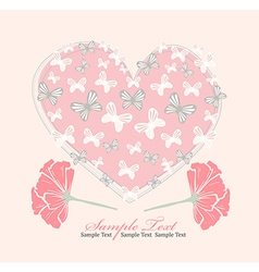 Valentines day card with heart flowers and butterf vector image