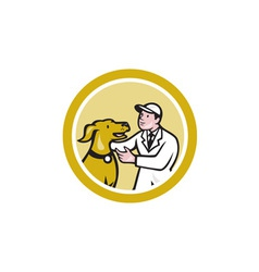 Veterinarian vet kneeling beside pet dog circle vector