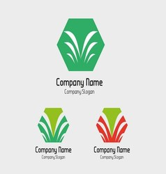 Palm tree logo with hexagons symbol vector
