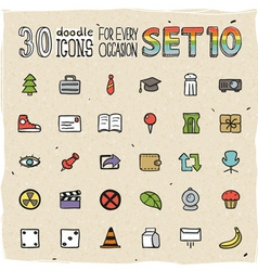 30 Colorful Doodle Icons Set 10 vector image vector image