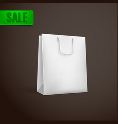 White shopping bag mock-up vector