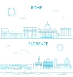 Rome and florence line  rome vector