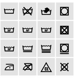 Black washing signs set vector