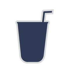 Disposable cup with straw icon vector