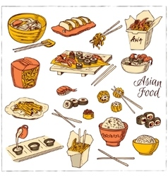 Asian Food Decorative chinese food icons set vector image