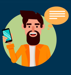 Bearded man with smartphone hipster guy vector