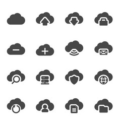 black cloud icons set vector image vector image