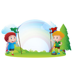 border template with boys holding flags vector image vector image