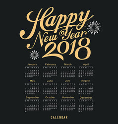 Calendar happy new year 2018 black and gold vector