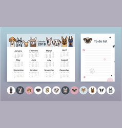 Calendar with dogs planner template vector