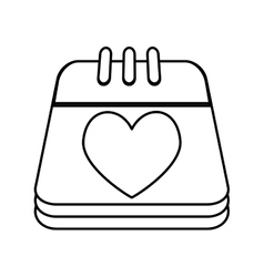 Calendar with heart isolated icon vector