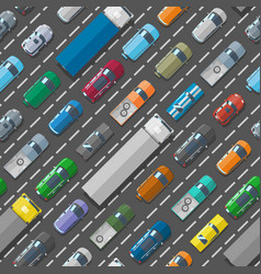 cars vehicle city transport traffic jam road vector image vector image