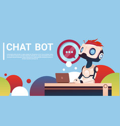 Chat bot using laptop computer robot virtual vector