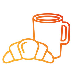 Coffee cup drink with croissant vector