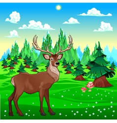 Deer in mountain landscape vector