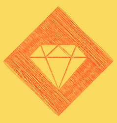Diamond sign red scribble vector