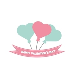 Happy valentine day card balloons heart pastel vector