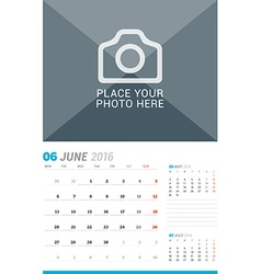 June 2016 wall monthly calendar for 2016 year vector
