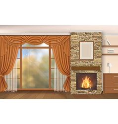 Living room interior with fireplace vector image vector image