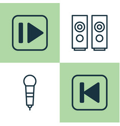 Music icons set collection of following music vector