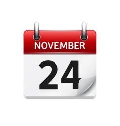 November 24 flat daily calendar icon vector