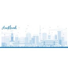 Outline auckland skyline with blue buildings vector