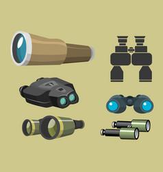 Professional camera lens binoculars glass look-see vector