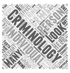 Recent paradigms in criminology word cloud concept vector