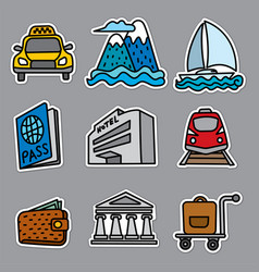 resort travel stickers vector image