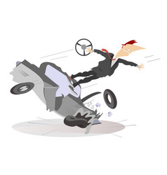 Road accident isolated vector