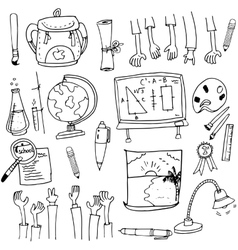 School object collection stock in doodle vector