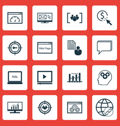 Set of 16 marketing icons includes focus group vector