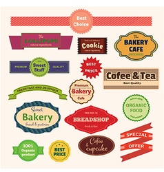 Set of bakery labels ribbons and cards for your vector image